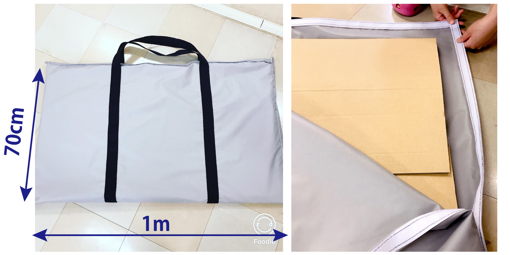 持ち運び用の大判テントバッグ
